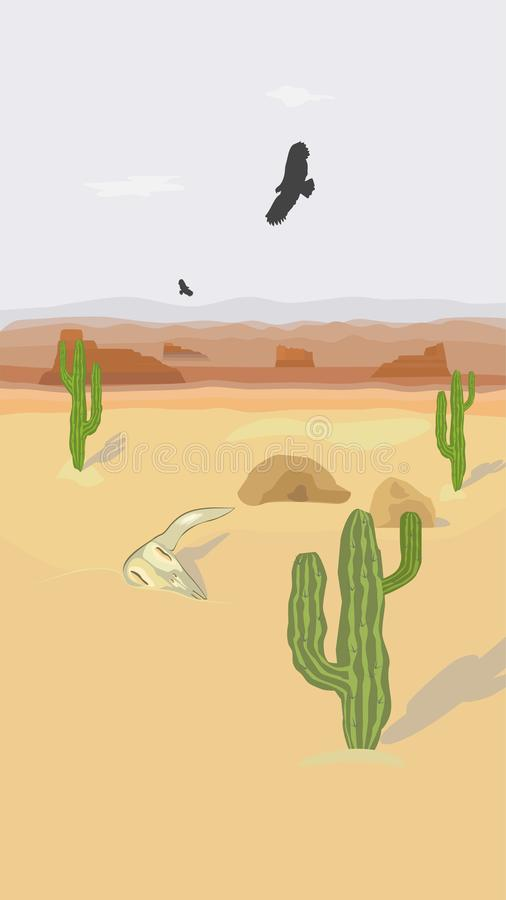 Сцена пустыни с кактусами и орлами бесплатная иллюстрация