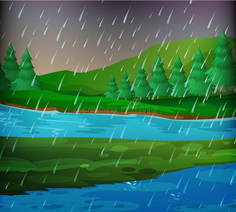 Сцена реки на дождливый день иллюстрация штока