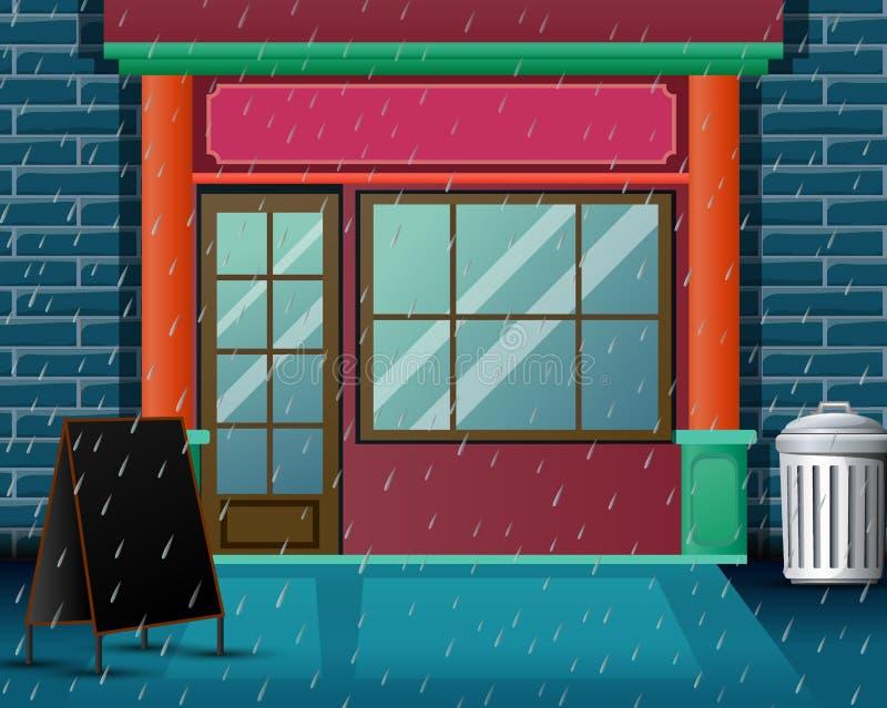 Сцена ресторана предпосылки с очень проливным дождем бесплатная иллюстрация