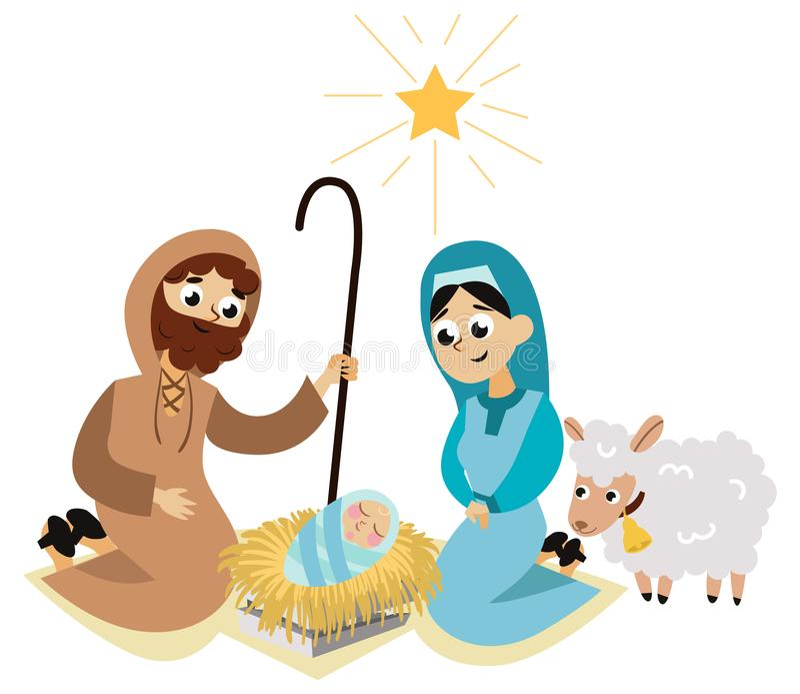 Сцена рождества рождества в плакате святой семьи плоском иллюстрация вектора