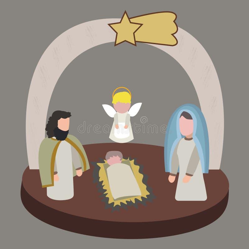 Сцена рождества в равновеликом стиле в иллюстрации вектора иллюстрация штока