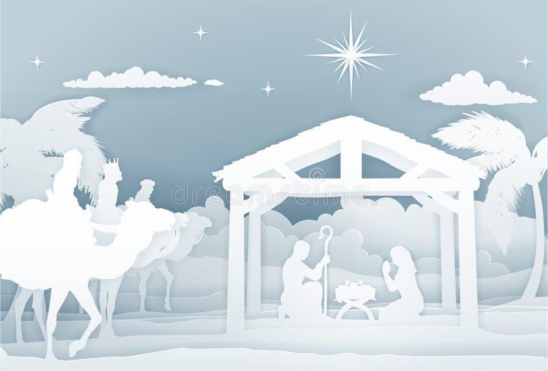 Сцена рождества с 3 мудрецами иллюстрация штока
