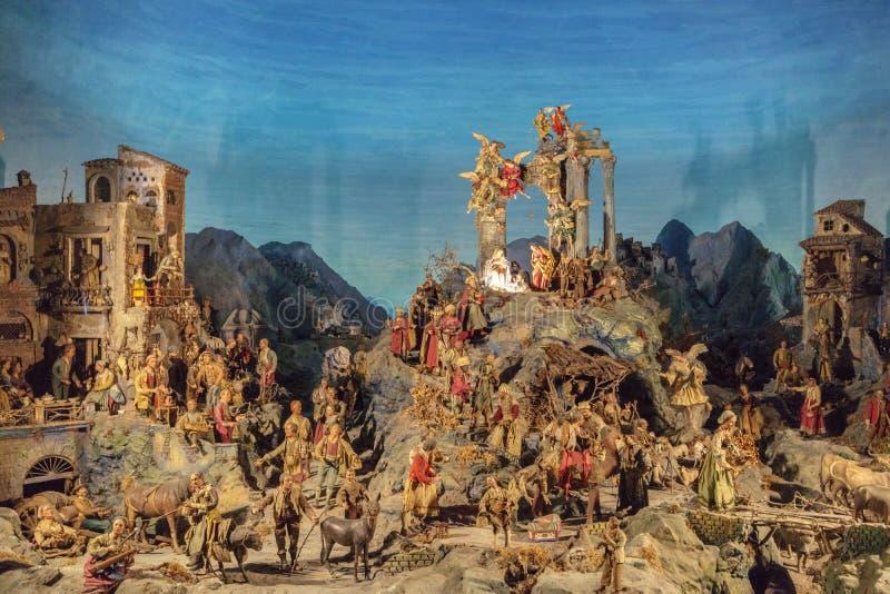 Сцена рождества Presepe в Неаполь Италии стоковое фото rf
