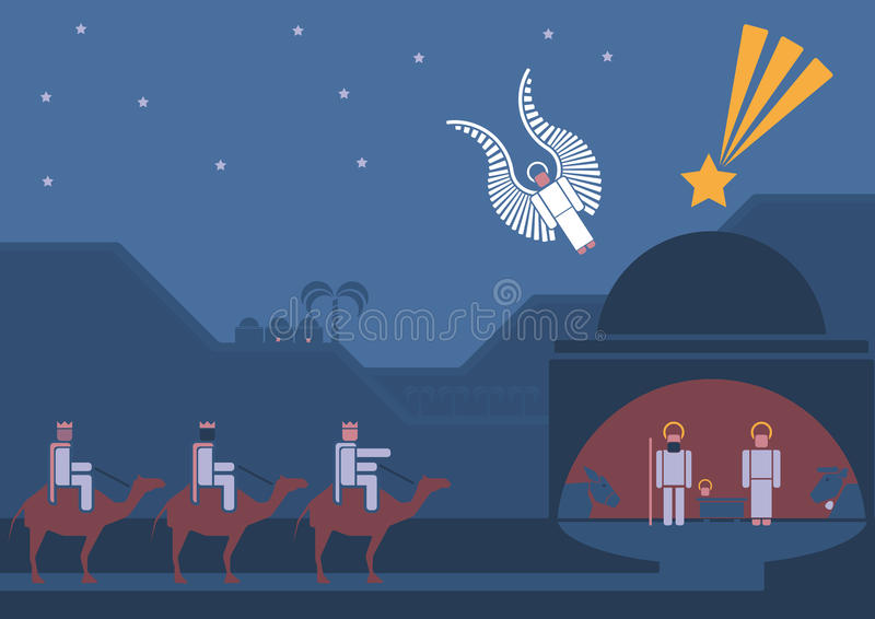 Сцена рождества и 3 мудрецы бесплатная иллюстрация