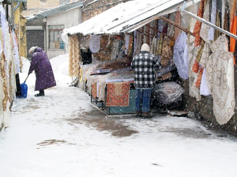 Сцена рынка зимы стоковая фотография