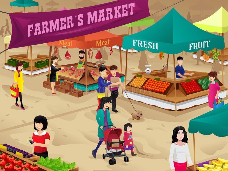 Сцена рынка фермеров иллюстрация вектора