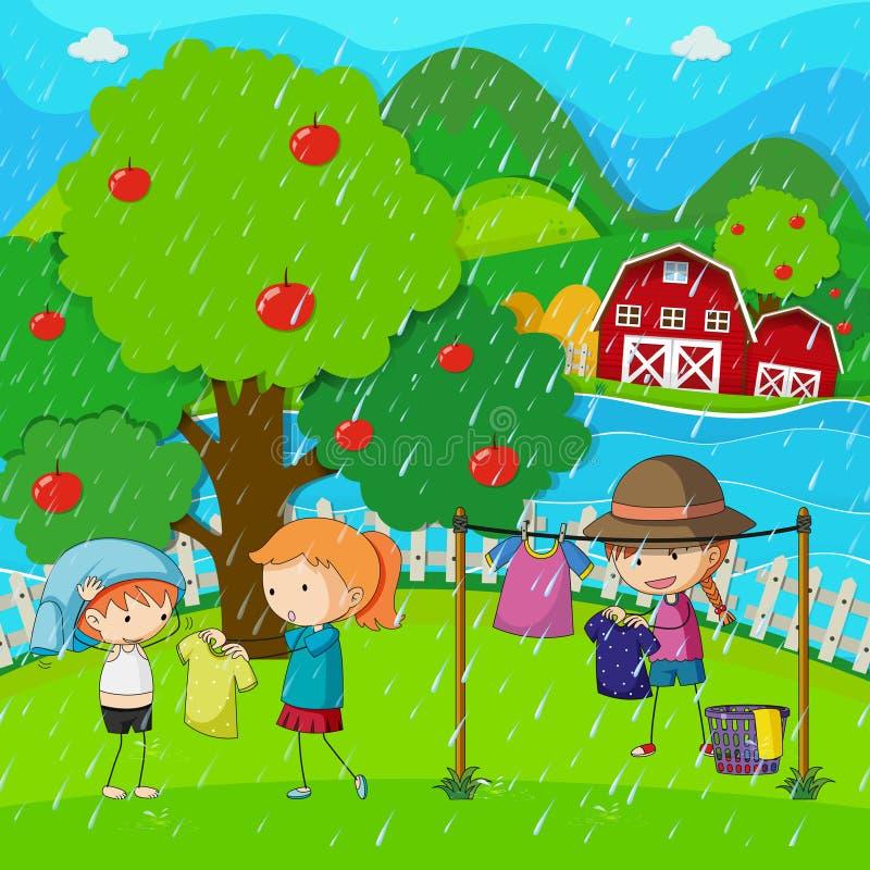 Сцена сада при дети делая прачечную в дожде иллюстрация вектора