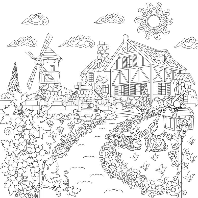 Сцена сельской местности Zentangle стилизованная иллюстрация вектора