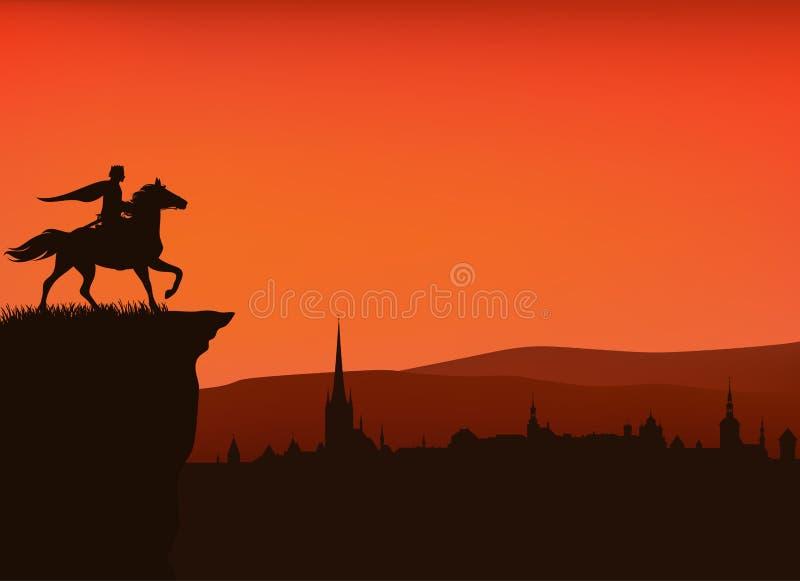 Сцена силуэта вектора верховой лошади принца сказки бесплатная иллюстрация