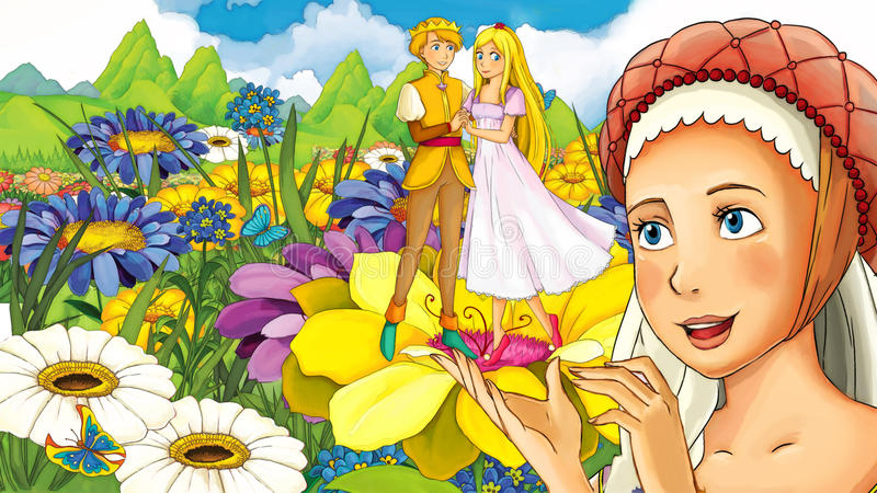 Сцена сказки шаржа - иллюстрация для детей иллюстрация штока