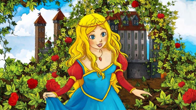Сцена сказки шаржа - сад и замок иллюстрация штока