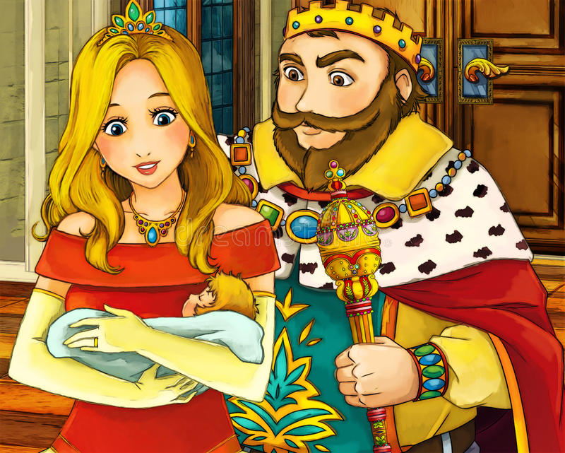 Сцена сказки шаржа - средневековая - мать с ребенком иллюстрация штока
