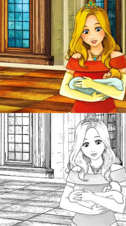Сцена сказки шаржа - страница расцветки иллюстрация штока