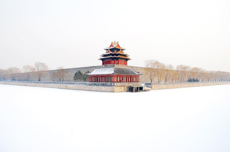 Сцена снега на запретном городе (в Пекине) стоковая фотография