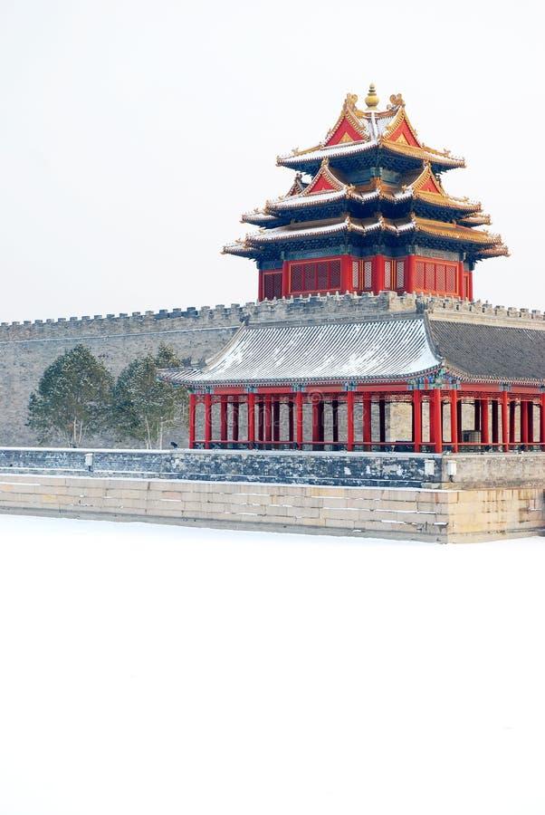 Сцена снега на запретном городе (в Пекине) стоковая фотография rf