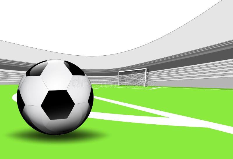 Сцена спортивной площадки футбола лета с пустым стадионом бесплатная иллюстрация