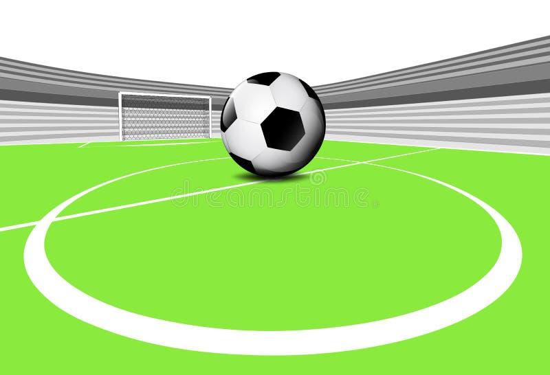 Сцена спортивной площадки футбола разбивочного круга с пустым стадионом иллюстрация штока