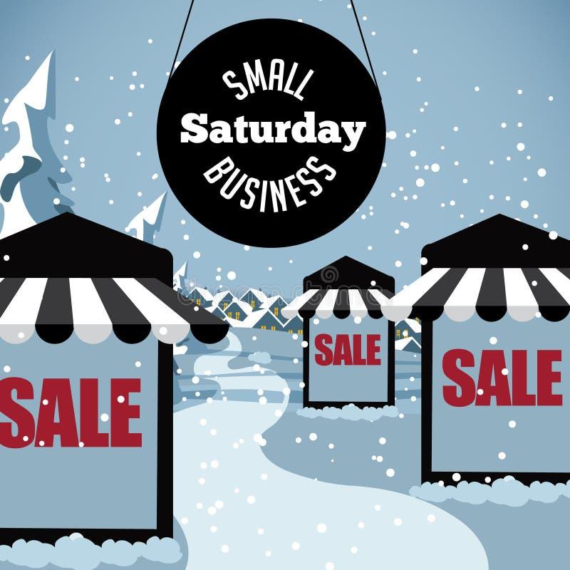 Сцена субботы мелкого бизнеса снежная бесплатная иллюстрация