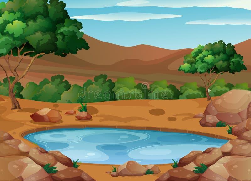 Сцена с водопоем на том основании иллюстрация вектора