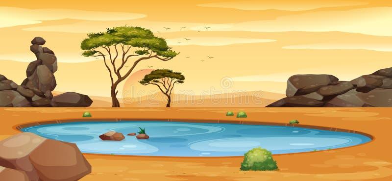 Сцена с водопоем на том основании бесплатная иллюстрация