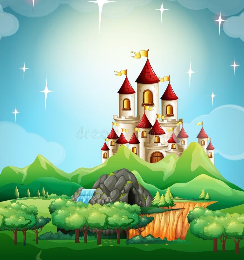 Сцена с замком и лесом иллюстрация штока