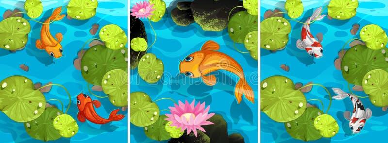 Сцена с заплыванием рыб в пруде иллюстрация вектора