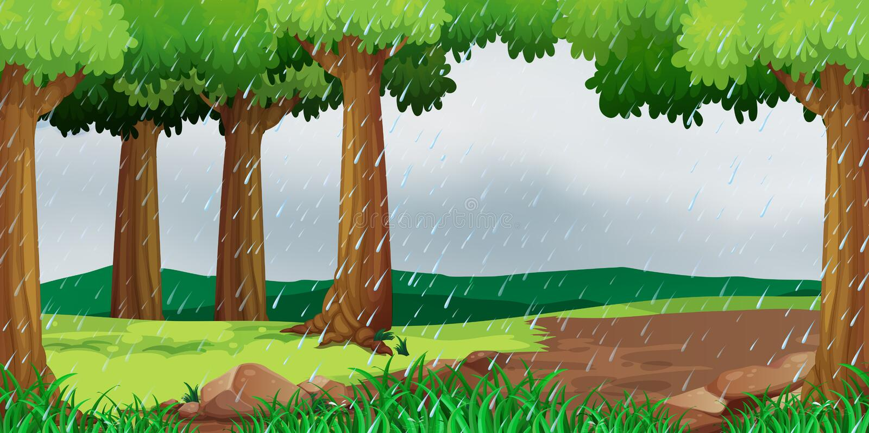 Сцена с идти дождь в парке бесплатная иллюстрация