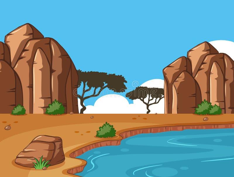 Сцена с каньоном и waterhole иллюстрация вектора