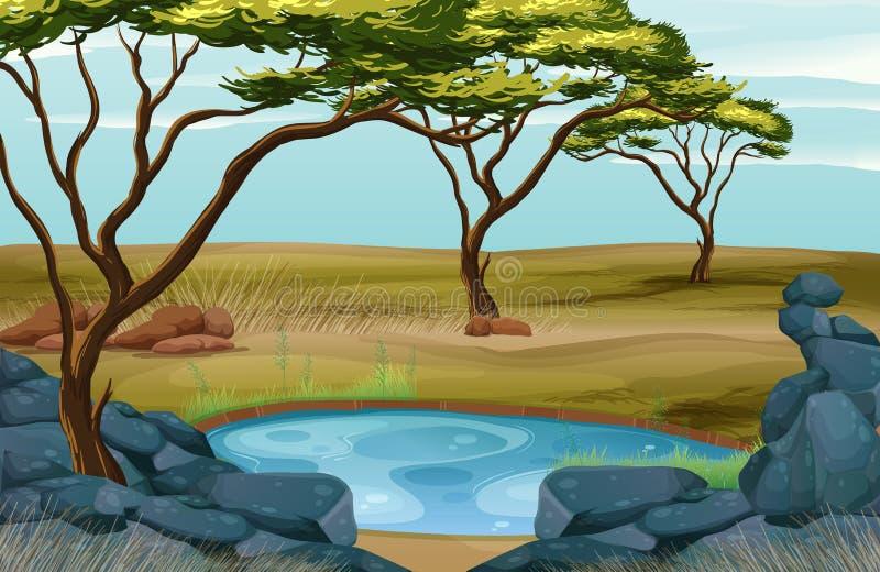 Сцена с малым прудом в поле иллюстрация вектора