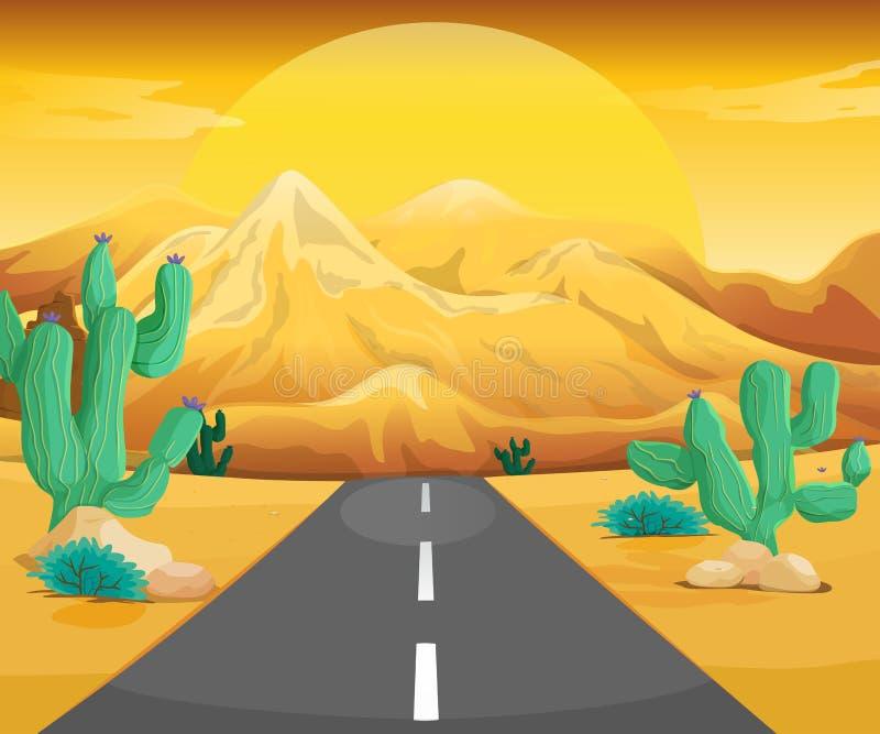 Сцена с дорогой в пустыне иллюстрация штока