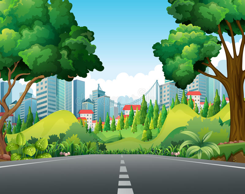 Сцена с дорогой к городу иллюстрация штока