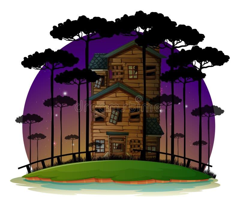 Сцена с преследовать домом на ноче иллюстрация вектора