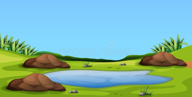 Сцена с прудом в поле иллюстрация штока