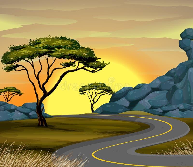 Сцена с пустой дорогой на заходе солнца иллюстрация штока