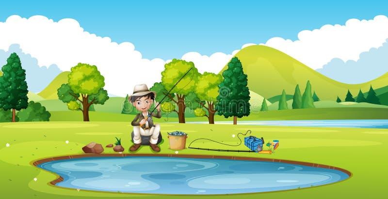 Сцена с рыбной ловлей человека прудом иллюстрация штока