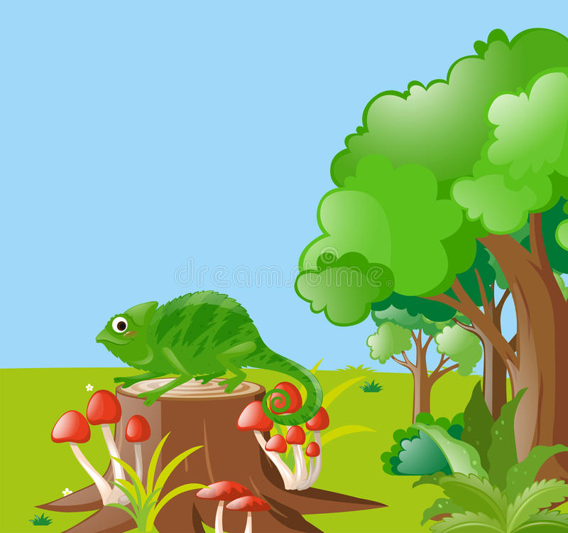 Сцена с ящерицей в поле бесплатная иллюстрация