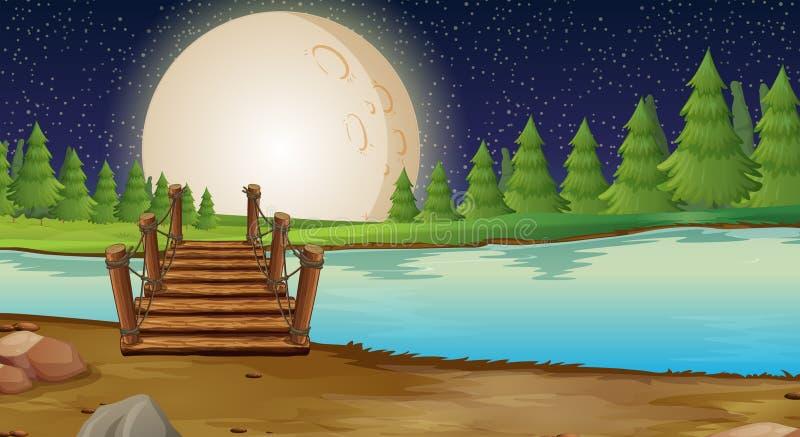 Сцена с fullmoon над мостом иллюстрация штока