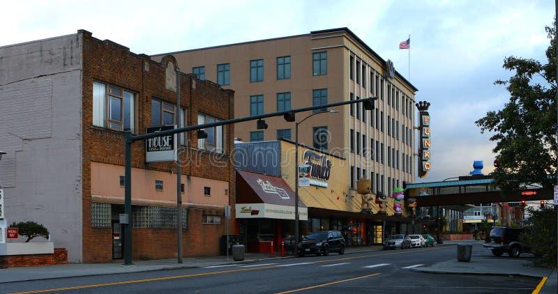 Сцена улицы в Эверетт, Вашингтоне стоковая фотография
