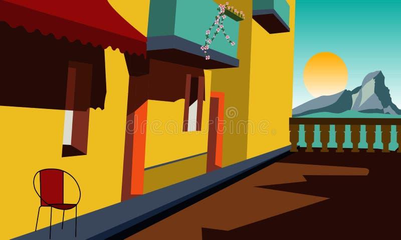 Сцена улицы на взморье с красочными зданиями иллюстрация вектора