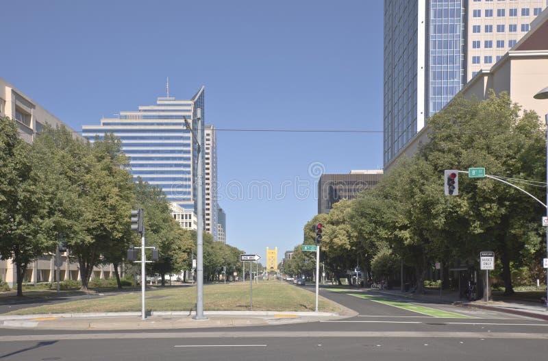 Сцена улицы в городском Сакраменто Калифорнии стоковые фотографии rf