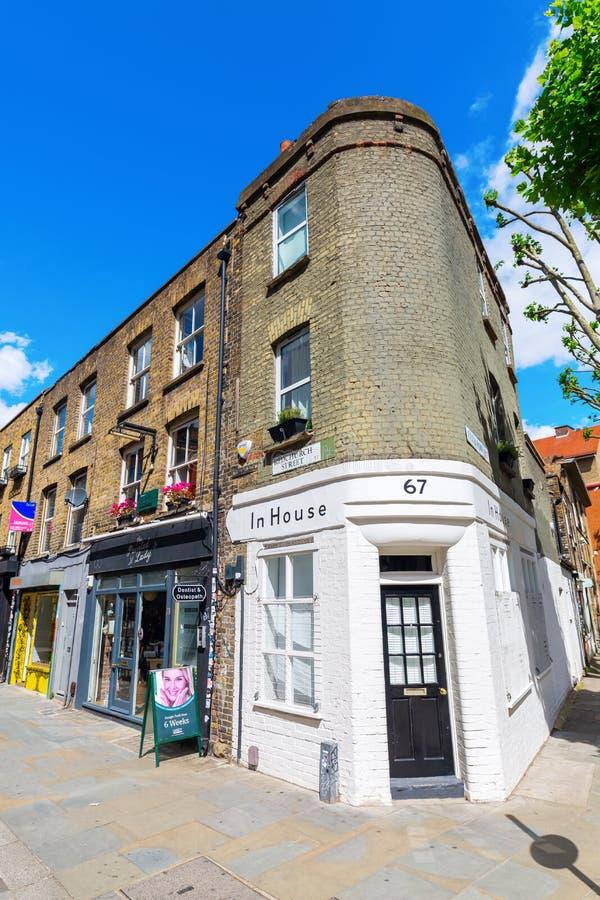 Сцена улицы на улице Redchurch в Shoreditch, Лондоне стоковое изображение