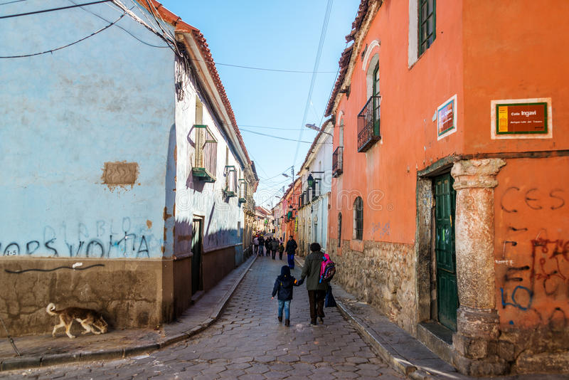 Сцена улицы Potosi, Боливии стоковое изображение rf