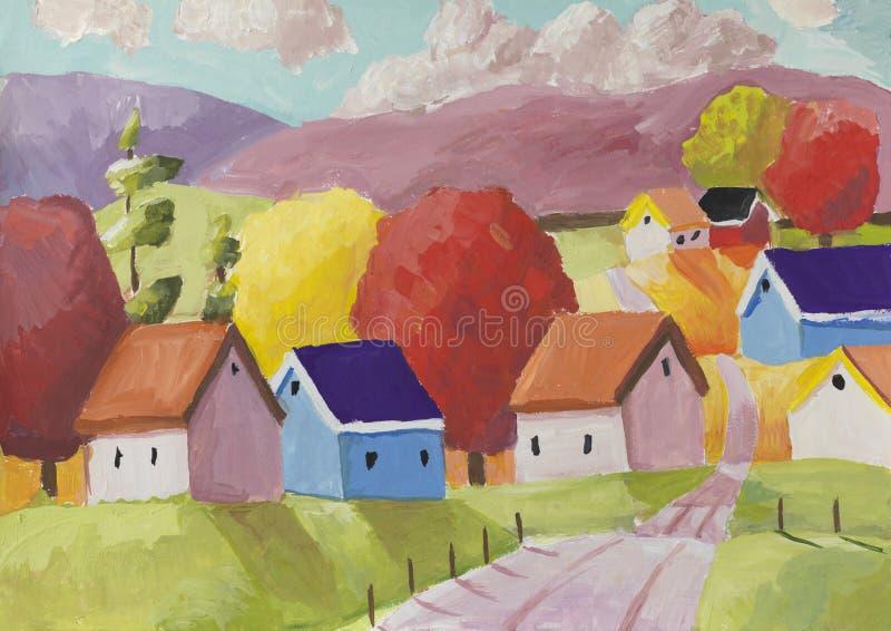 Сцена фантазии сельская с малой деревней стоковая фотография rf