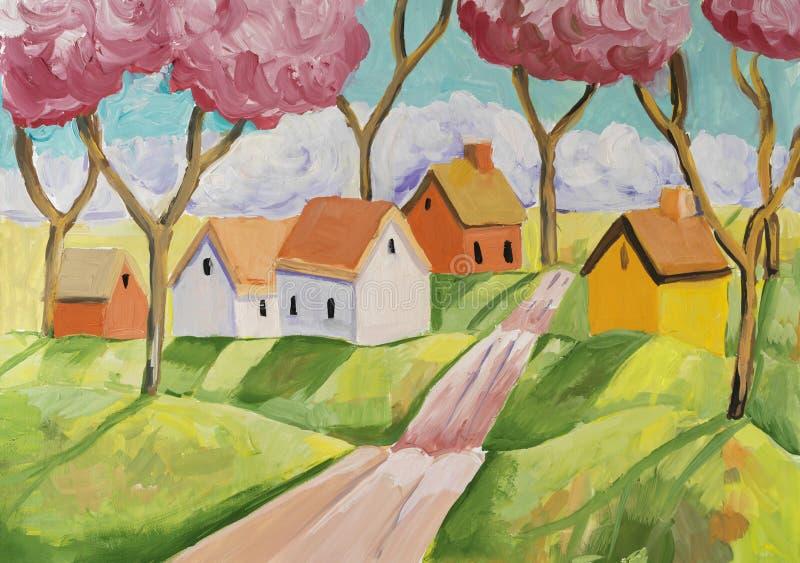 Сцена фантазии сельская с малой деревней стоковое фото rf