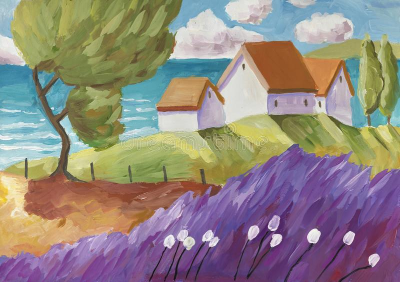 Сцена фантазии сельская с малой деревней иллюстрация вектора