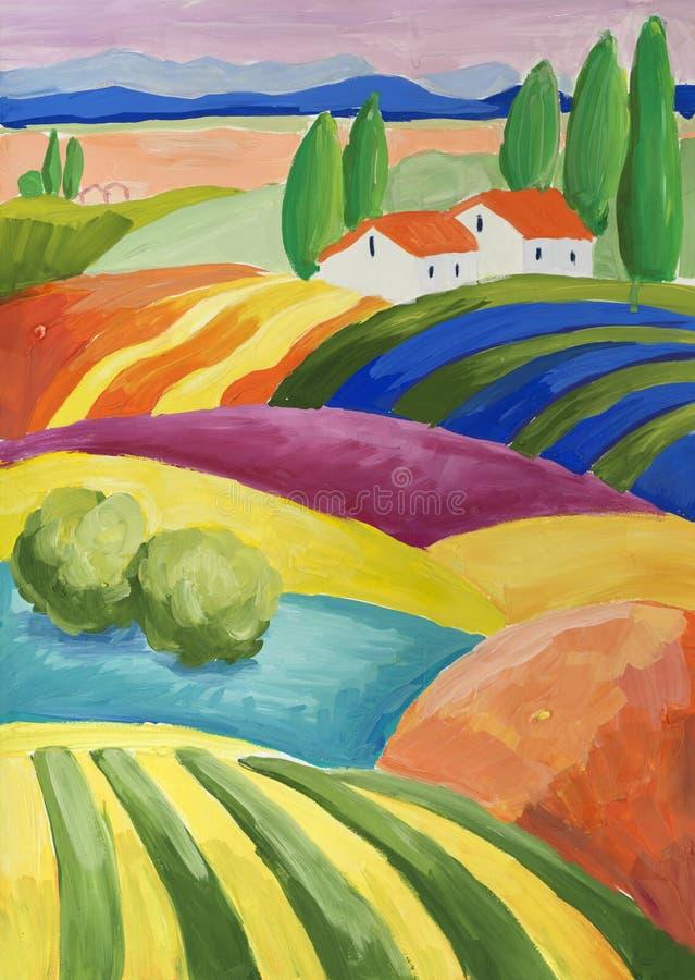 Сцена фантазии сельская с малой деревней бесплатная иллюстрация