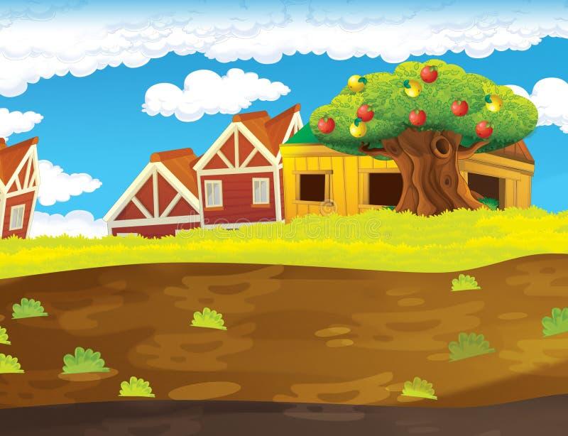 Сцена фермы шаржа с деревянным домом - предпосылкой бесплатная иллюстрация