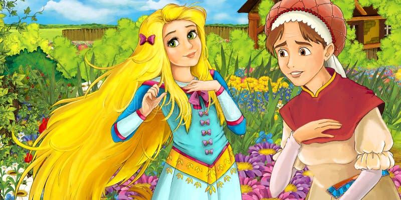 Сцена фермы шаржа с матерью и дочь - отображайте для различной сказки бесплатная иллюстрация
