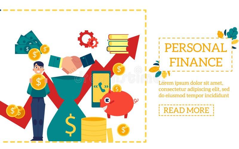 Сцена финансирования дела при молодой мальчик держа большие стойки монетки доллара окруженный элементами финансов иллюстрация вектора