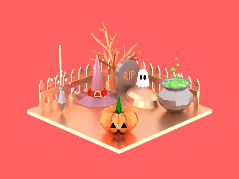 Сцена хеллоуина равновеликая с призраком шляпы ведьмы тыквы и баком зелья на иллюстрации погоста 3D иллюстрация штока